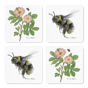 4-piece coasters wild rose/bumblebee