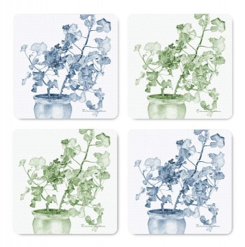 4-piece coasters blue/green geranium