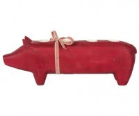 Wooden pig large red