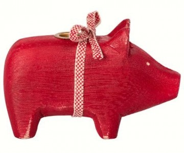 Wooden pig small red